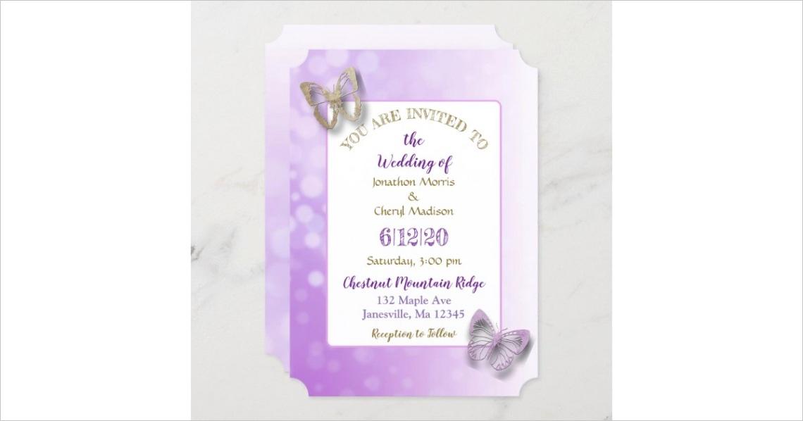 purple butterfly wedding invitations