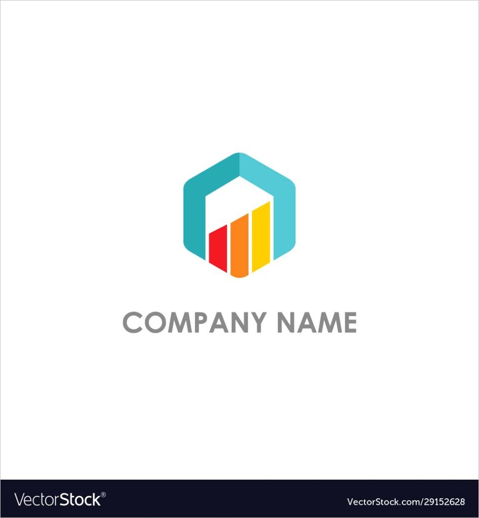 polygon graph progress business logo vector