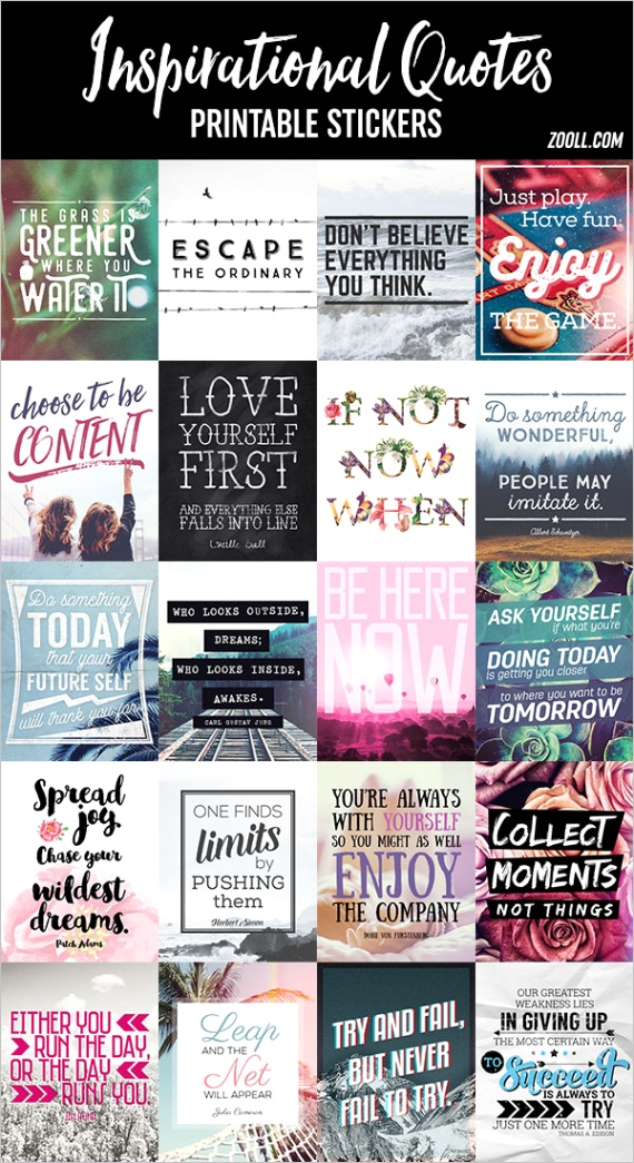 printables inspirational quotes printable stickers