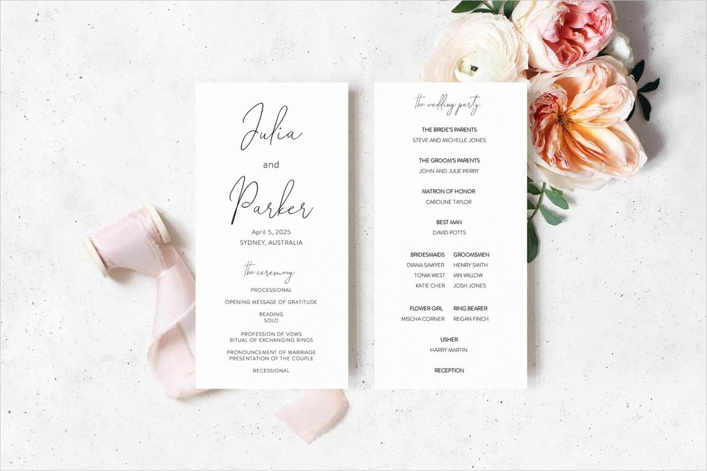 wedding program fan template printable ceremony programs instant minimalist wedding programs julia