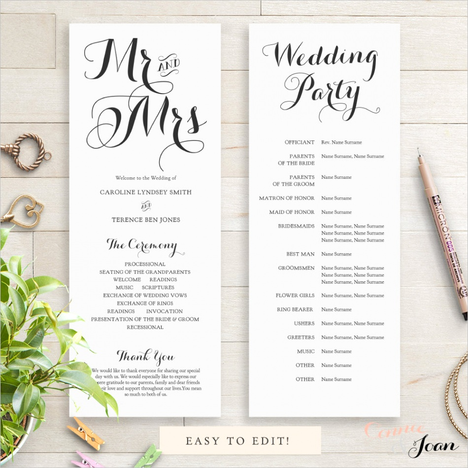 Paper & Party Supplies ehfxm and Mrs Mr and Mrs Wedding Programs x Printable Wedding Program and half page