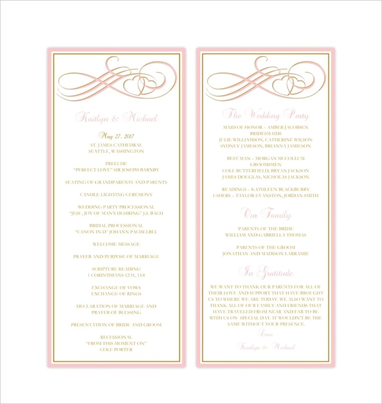slim wedding program two hearts be e one blush pink gold
