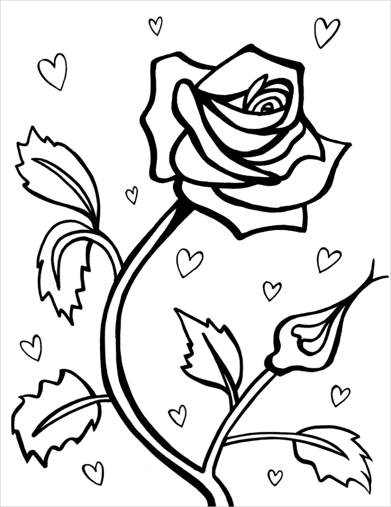 free printable roses coloring pages for kids rose sheets image inspirations hearts and to print