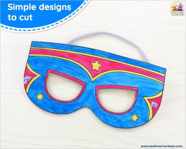 printable superhero masks wristbands for colouring