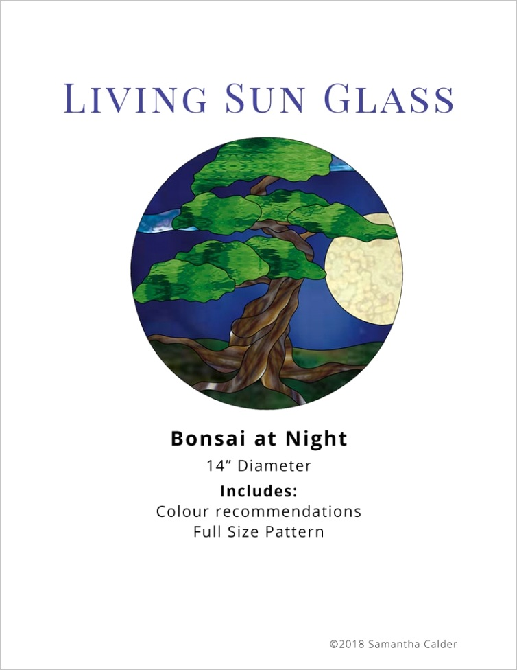 Glass Tree Pattern Round Stained Glass Panel Pattern Bonsai Tree Stainedtm