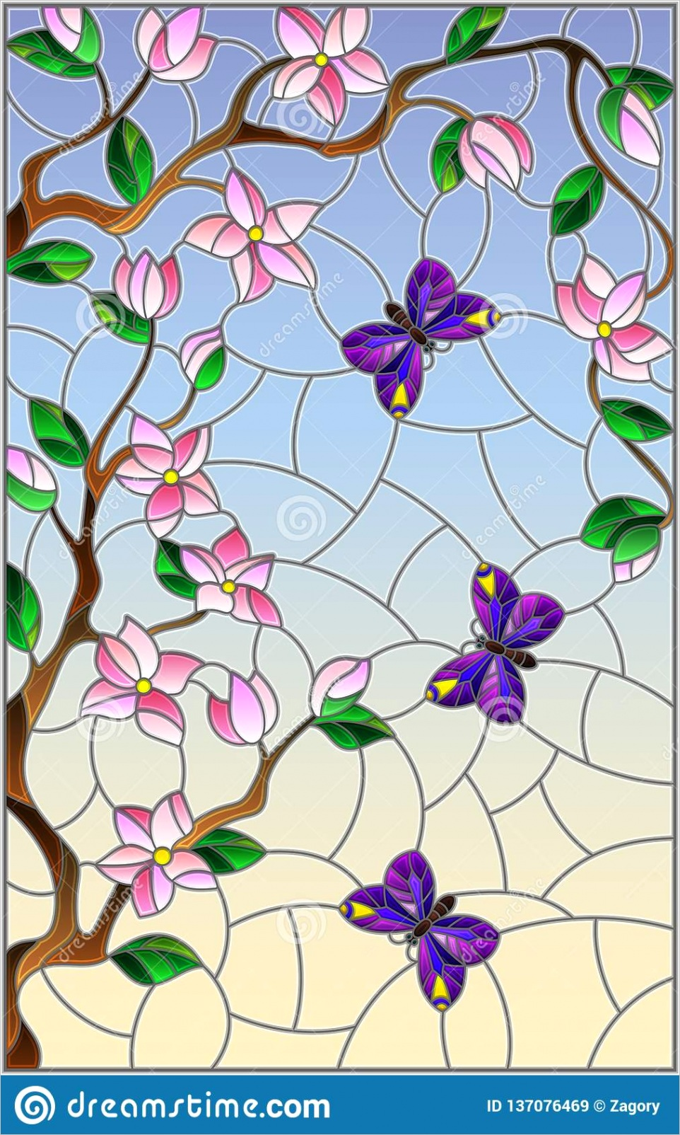 illustration stained glass style cherry blossom tree bright butterflies blue sky background image