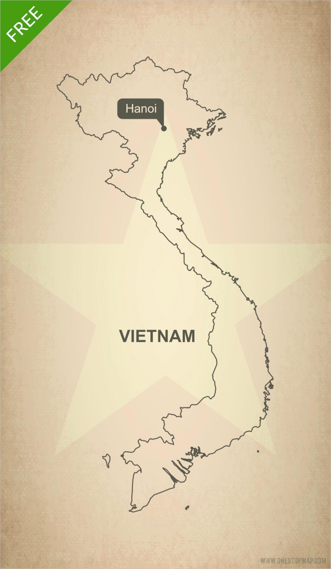 printable vector map vietnam outline 316