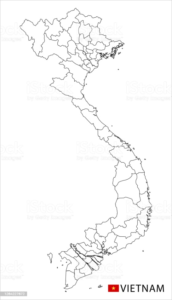 vietnam map black and white detailed outline regions of the country gm