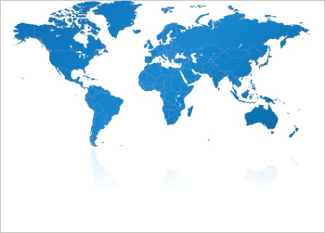 world map blue with countries gm