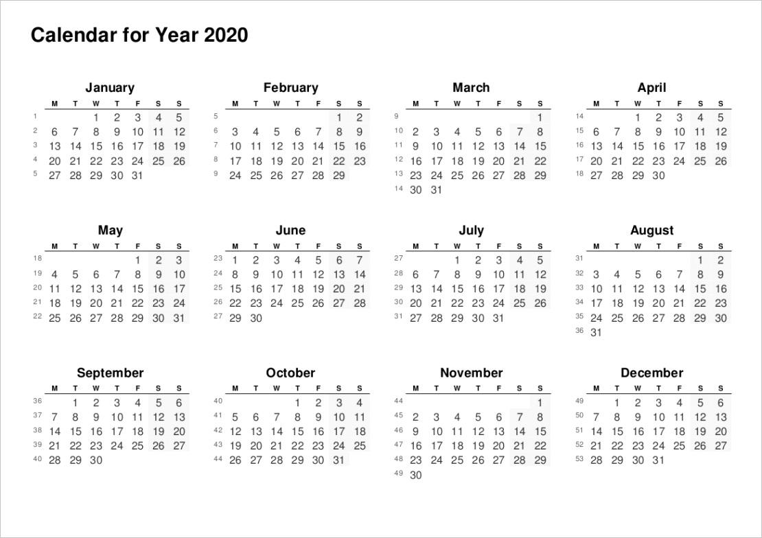 2020 full year calendarsp