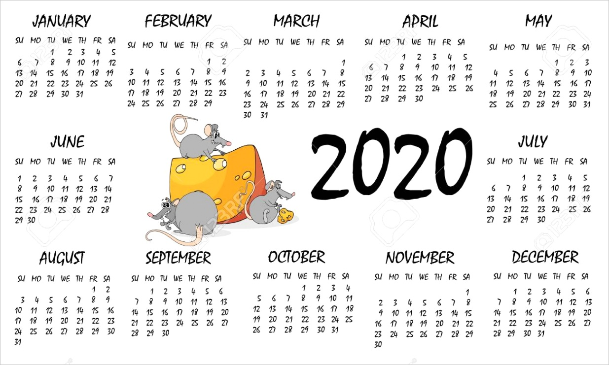 photo stock vector calendar 2020 with rat chinese new year symbol vector template cartoon characters white background f