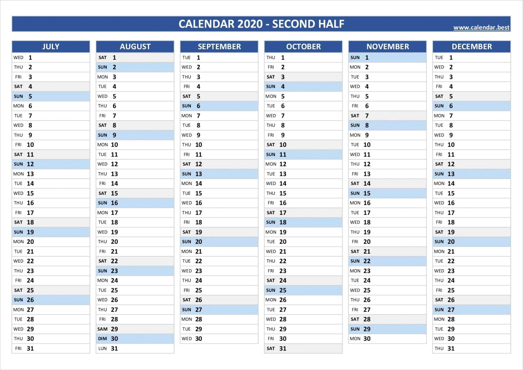 2020 half year calendarml