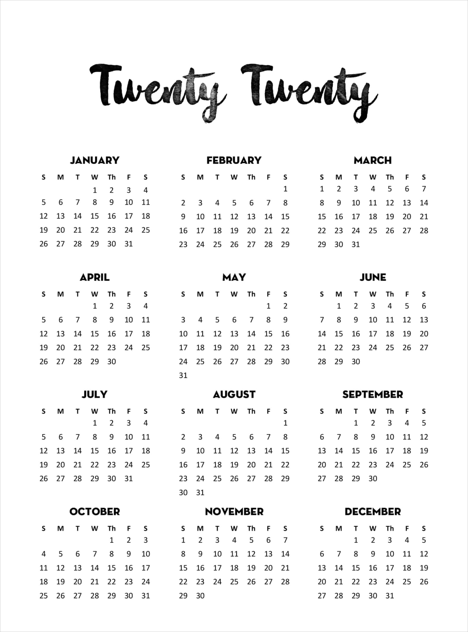 yearly calendar template with notes 2020