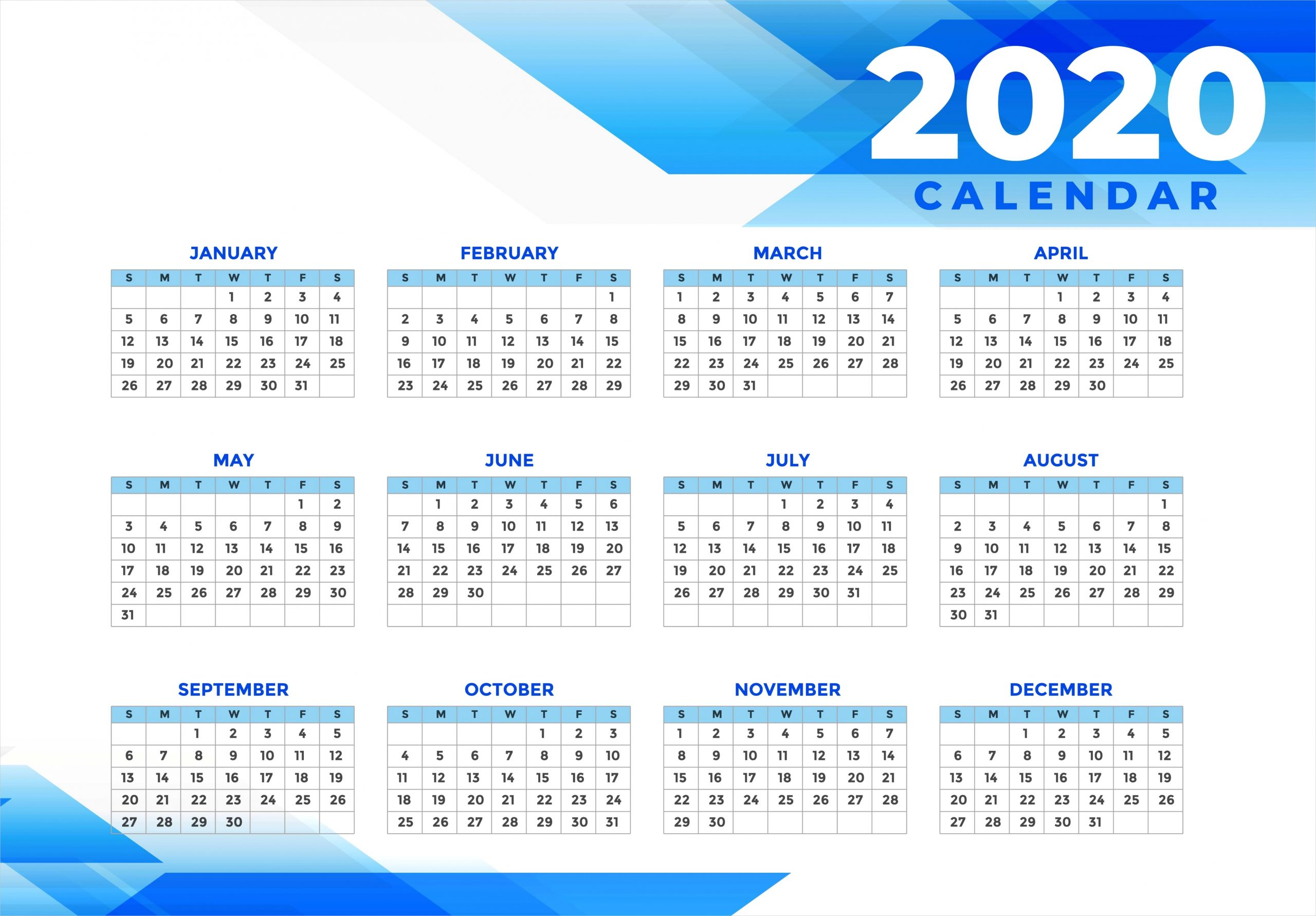 cute calendar 2020