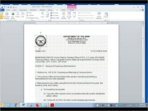 army appointment memo format