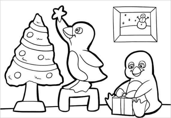 two cute baby penguins preparing for christmas coloring page