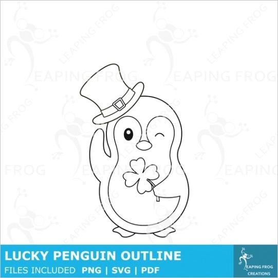 cute st patricks day penguin coloring