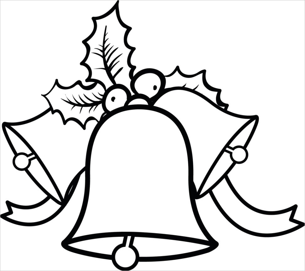 three christmas bells with ribbon and holly coloring page p4208