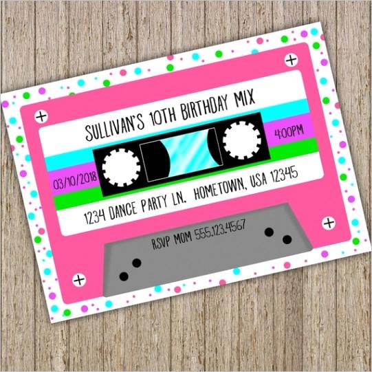 cassette tape birthday invitation retro