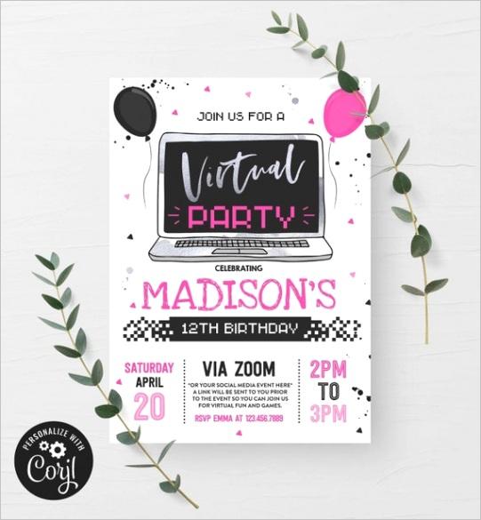 editable virtual birthday party