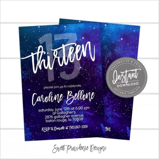 13th birthday invitation editable any
