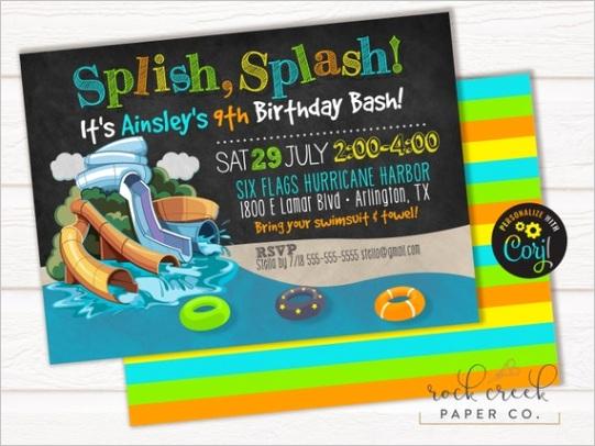waterpark birthday party invitation