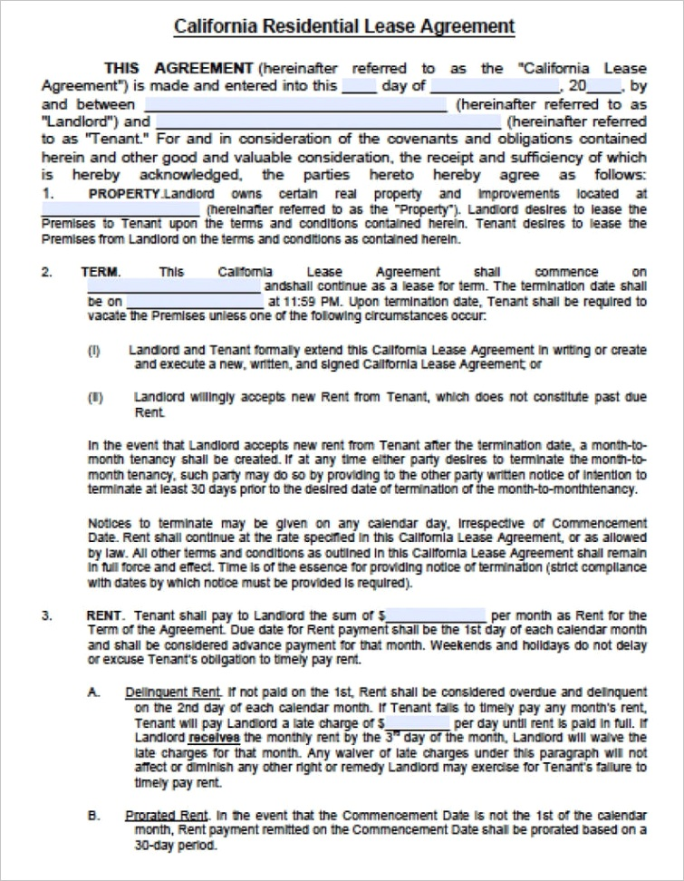 blank rental agreement california unique free lease agreement form new jersey standard residential 791x1024