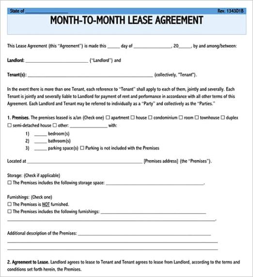 write a rental lease agreement