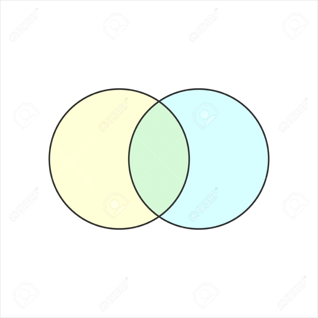 photo stock vector 2 circle blank venn diagram icon clipart image isolated on white background