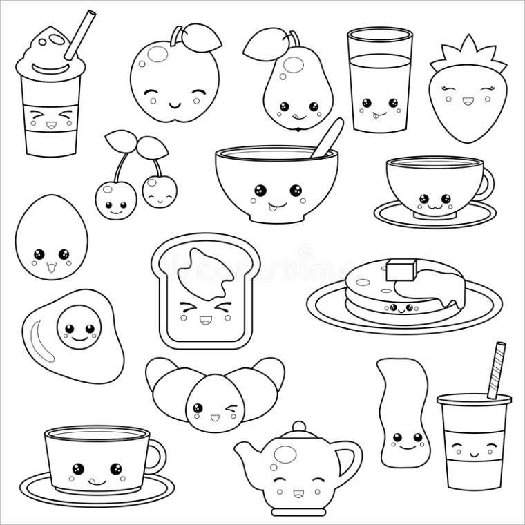 stock illustration breakfast food beverages cute vector icons set cute cartoon characters design coloring book image