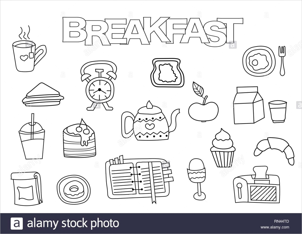 hand drawn breakfast set coloring book template outline doodle elements vector illustration kids game page image ml