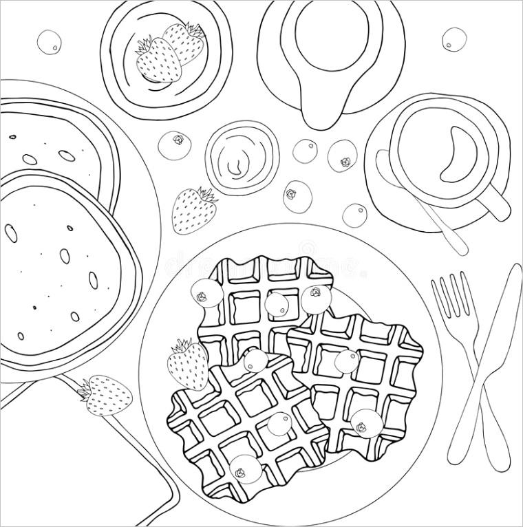 coloring book antistress breakfast pancakes waffles coffee milk coloring book antistress breakfast pancakes waffles coffee image