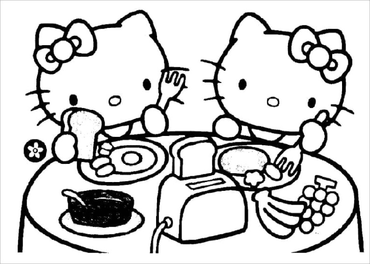 hello kitty having breakfast coloring page