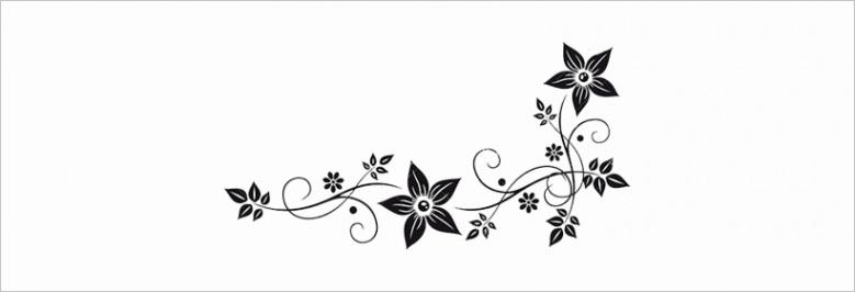 u2w7u2e6t4t4w7y3 vector graphics flower border black white clip art