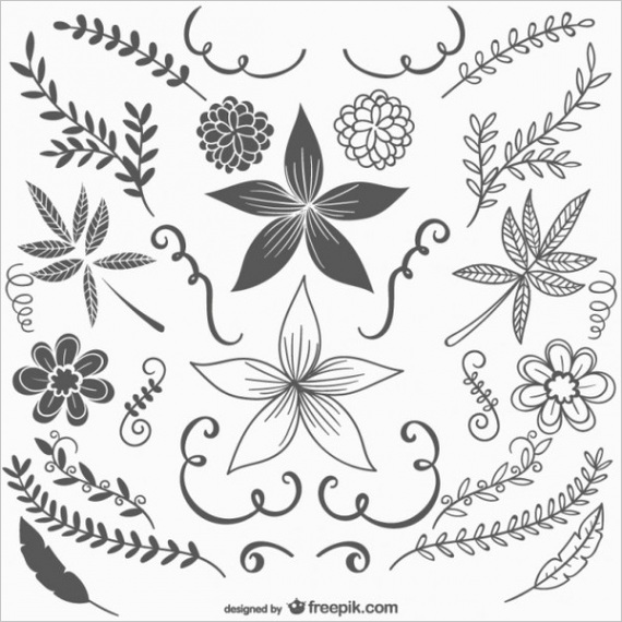 black and white vintage flowers free vector