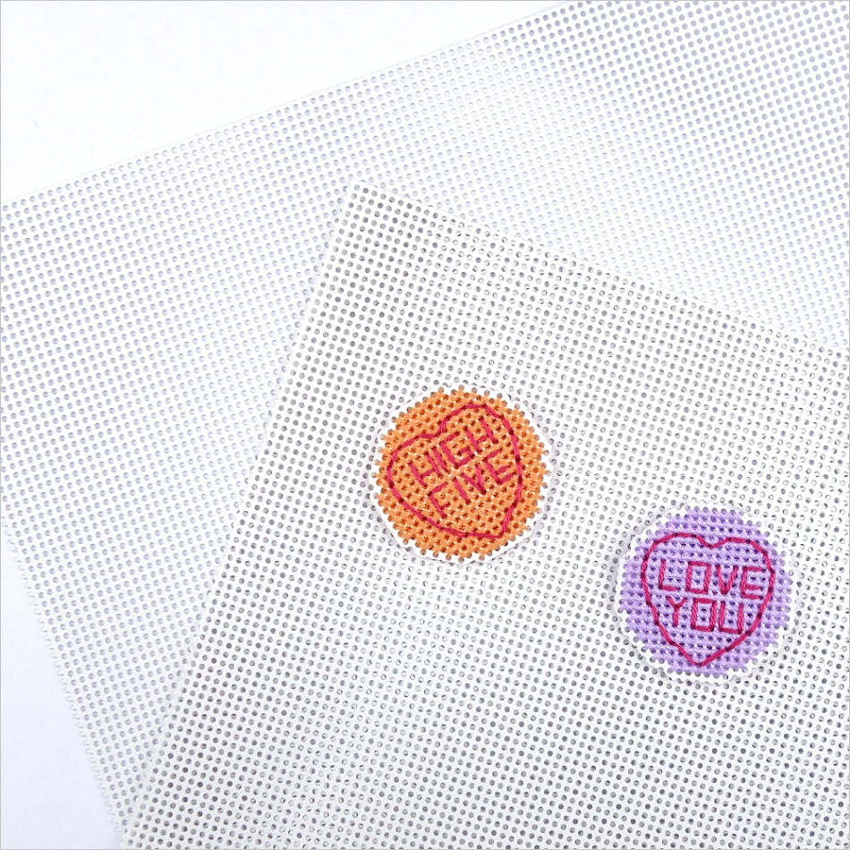 cross stitching on perforated paper