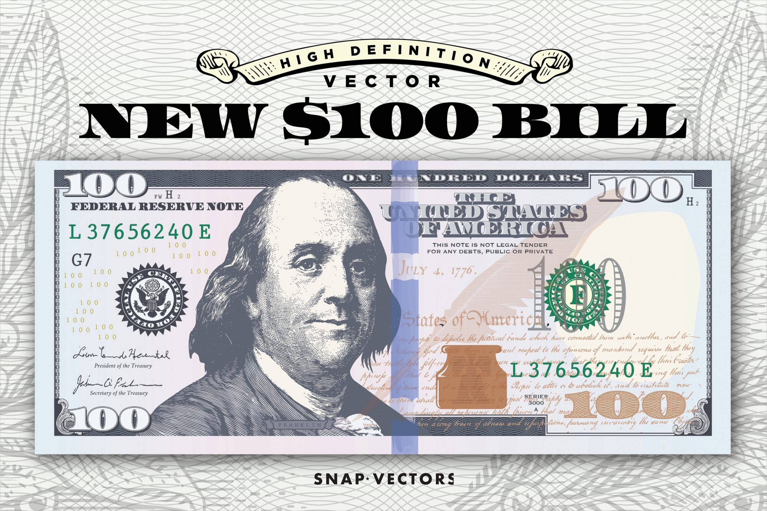 Vector New 100 Bill Template