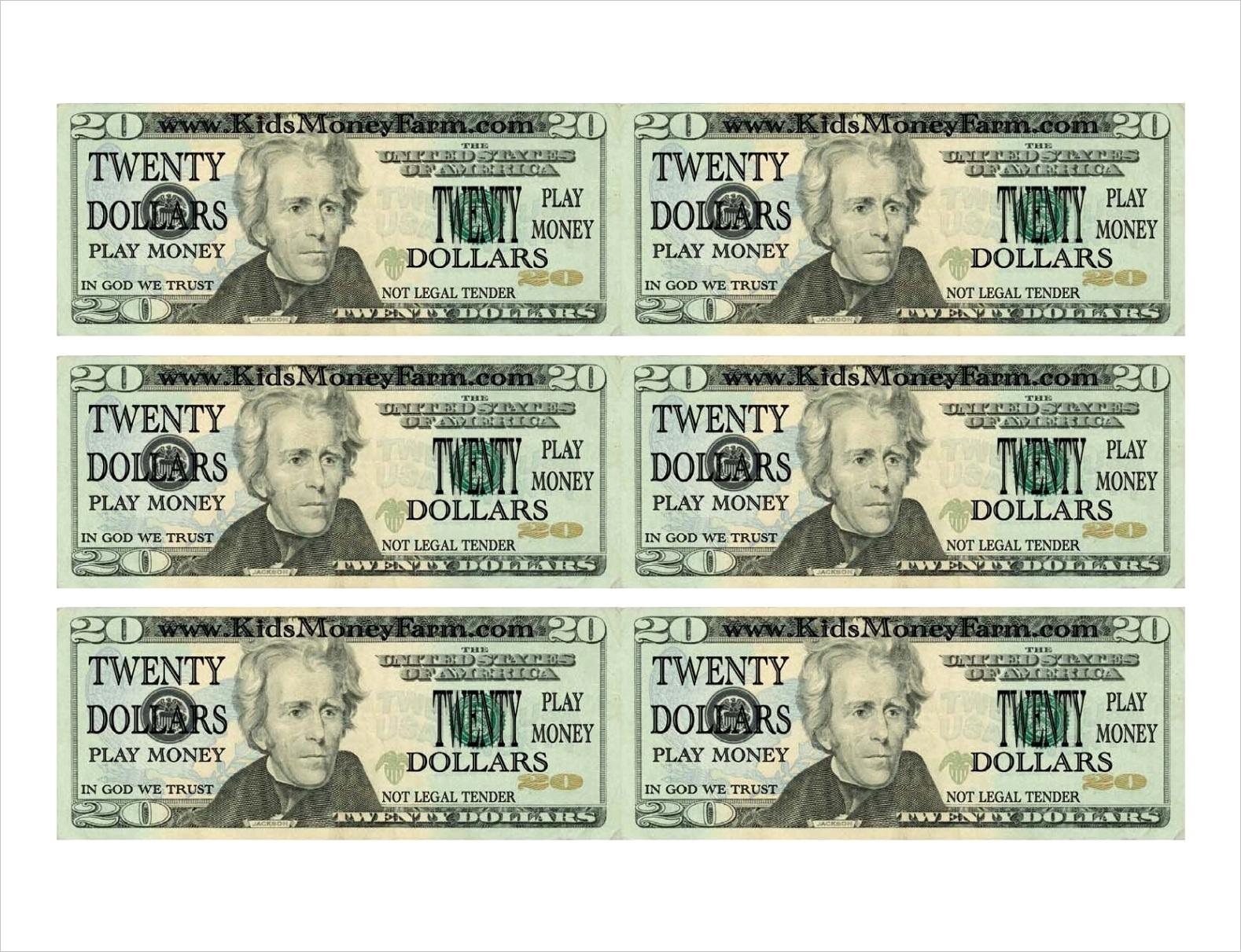 post fake play money printable