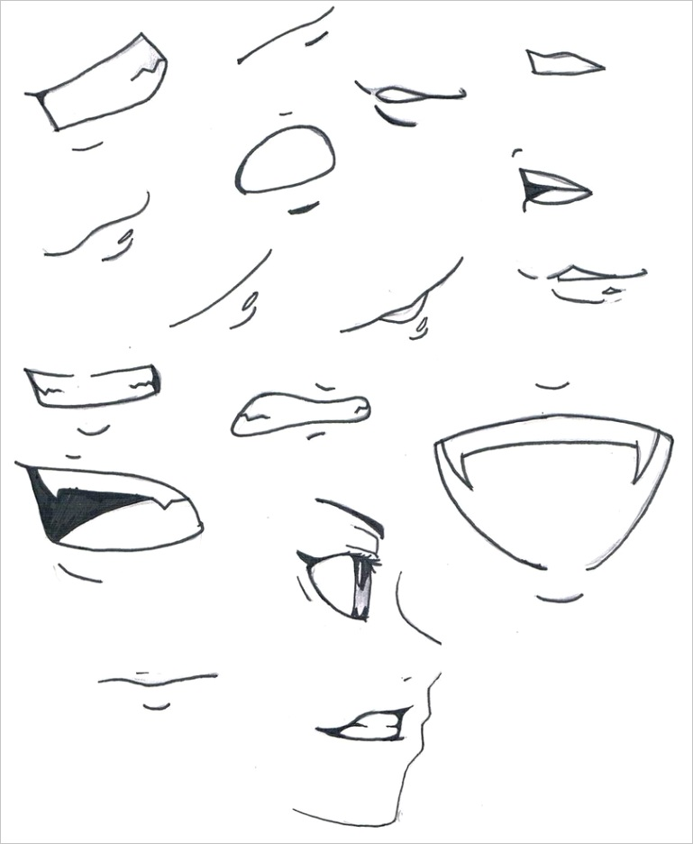 anime easy to draw lipsml