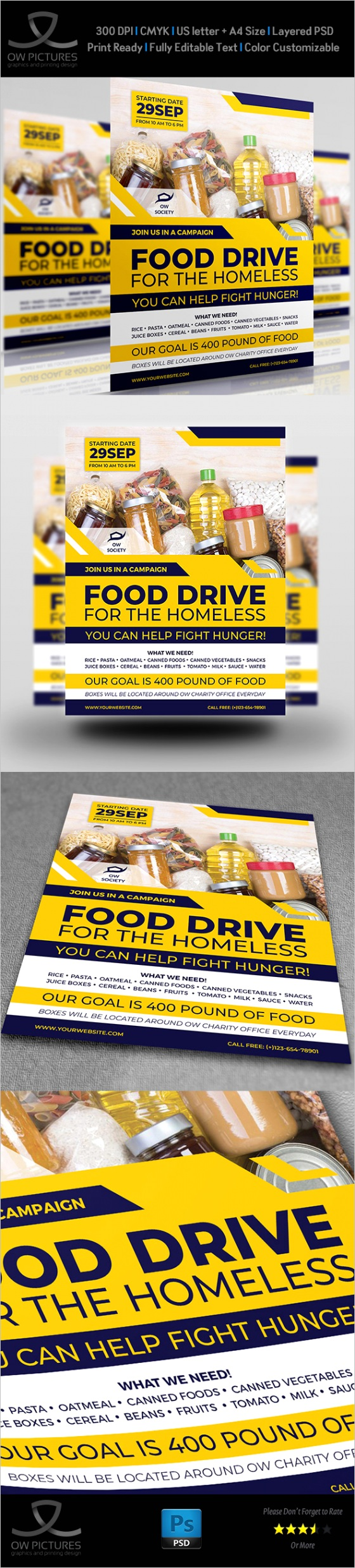 Homeless Food Drive Flyer Template