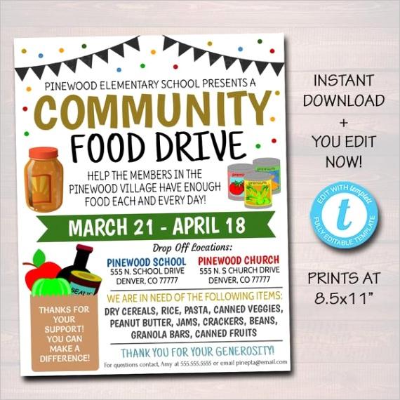 food drive flyer printable pta pto