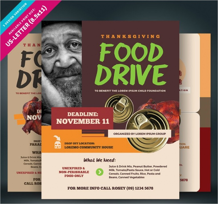 thanksgiving food drive flyer corporate identity template ml