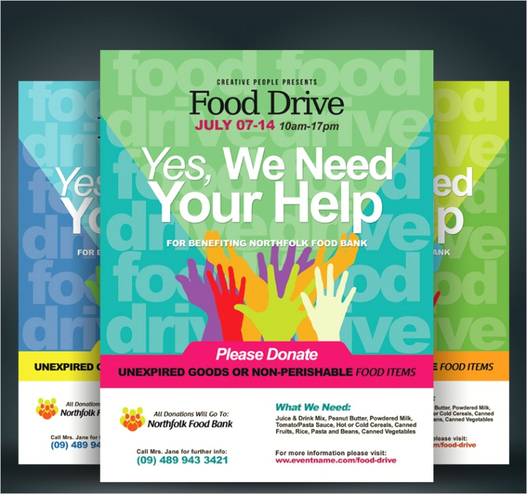 food drive flyers corporate identity template ml