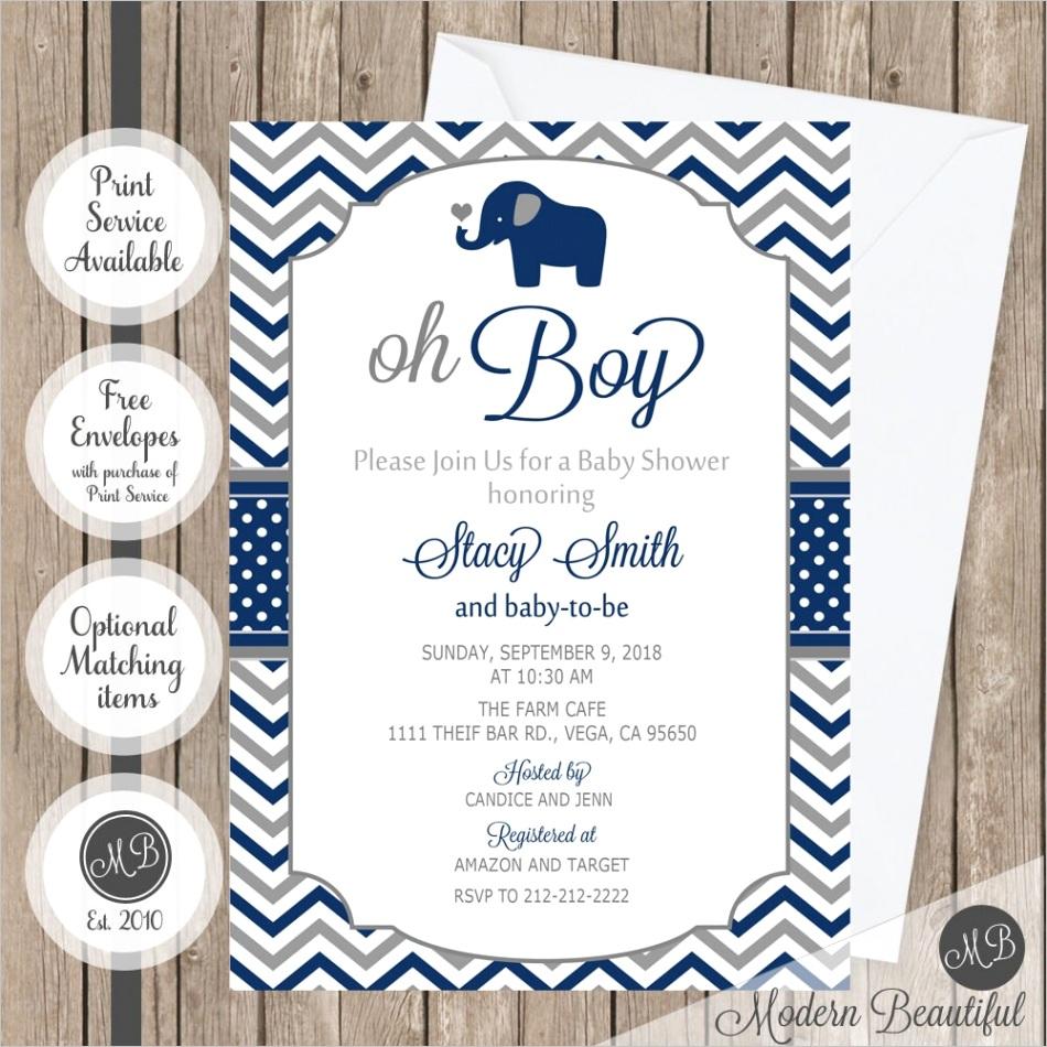 elephant oh boy baby shower invitation