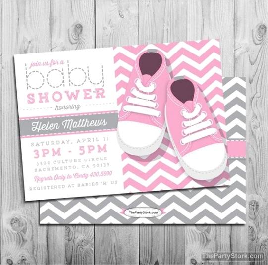 chevron baby shower invitation baby girl 2