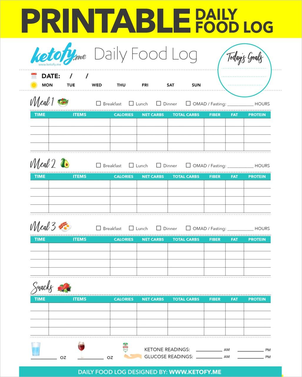 printable keto daily food log food journal food diary