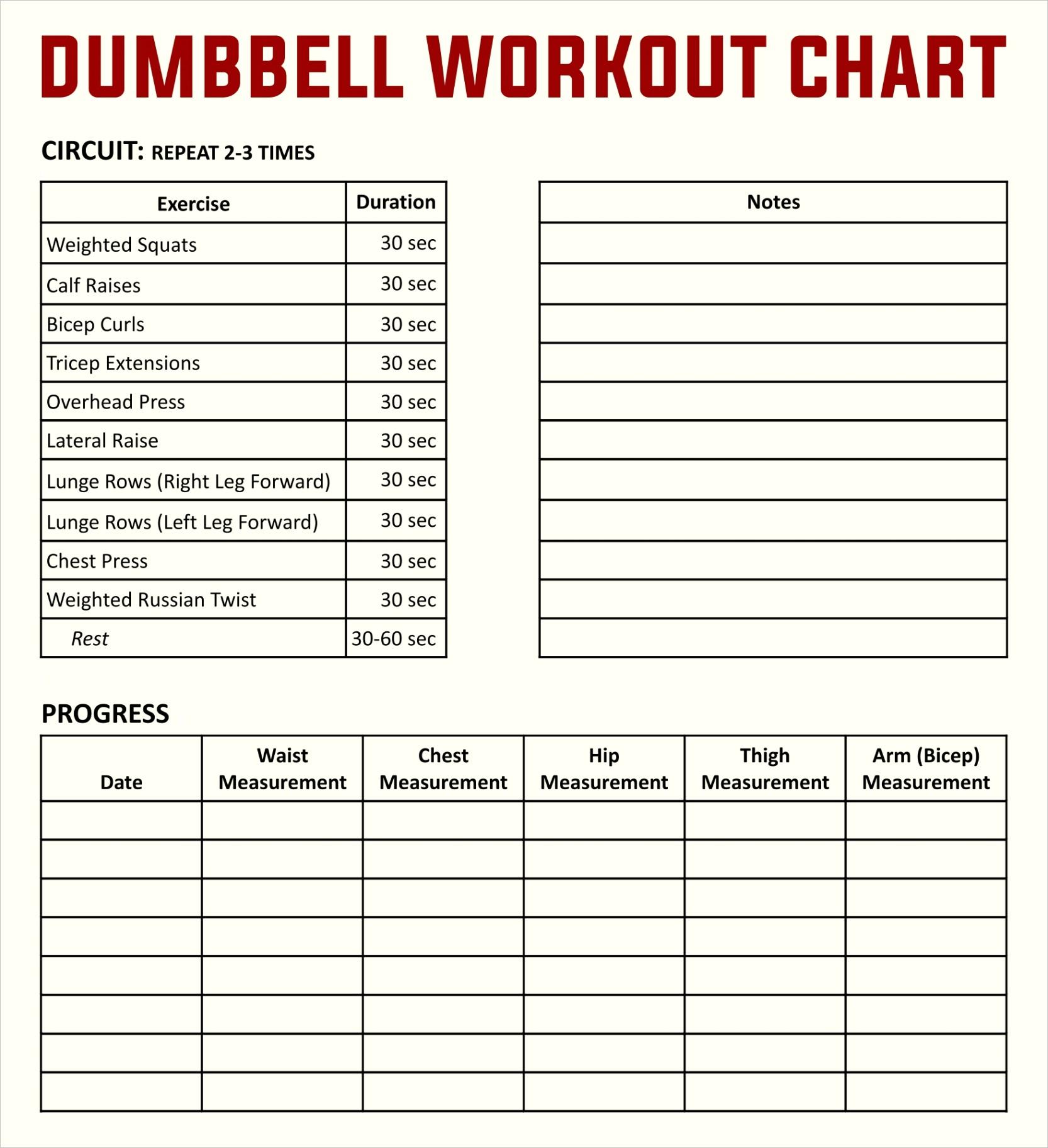 post free printable workout charts exercises
