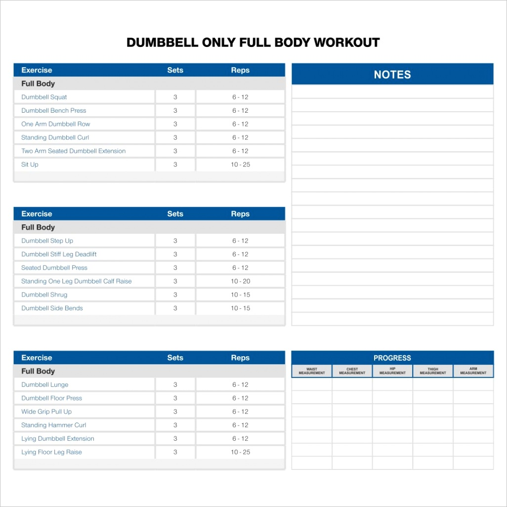post dumbbell exercises chart printable pdf