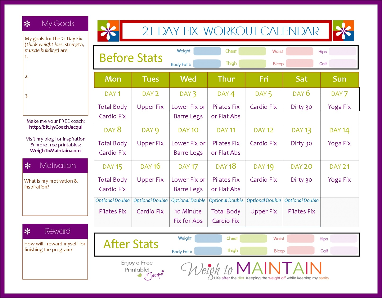 21 day fix workout schedule free pdf