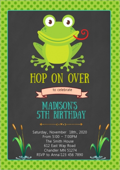 frog birthday party invitation design template